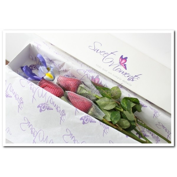 Caja 3 rosas rojas