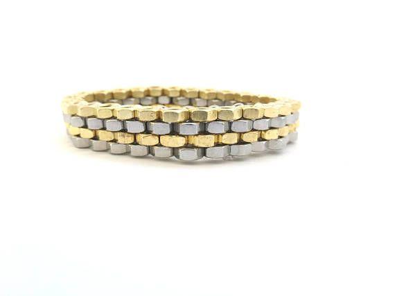 Contemporary jewelry Peyote stitch bracelet Brass hex nuts bracelet Elegant modern bracelet Valentines day gift for women HEXNUTSMADE