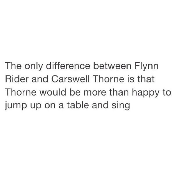 YESSS /~/ XD that is literally the only difference. Aside from that it is incredibly easy to imagine Cress and Thorne as Flynn Ryder and Rapunzel /~/