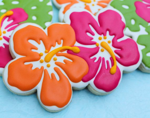 SweetTweets - Luau Tropical Summer Hibiscus Cookies - 1 Dozen