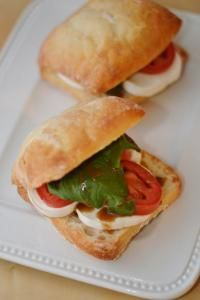 Caprese sandwich on ciabatta