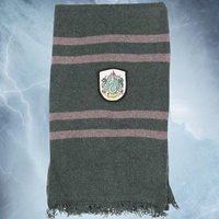 """$28.00 """"Approximately 10"""" x 65"""", Soft lambs wool, This scarf is made of lambs' wool and features the Slytherin House Coat of Arms patch. This officially licensed piece is a great addition to any Harry Potter ensemble."""""""