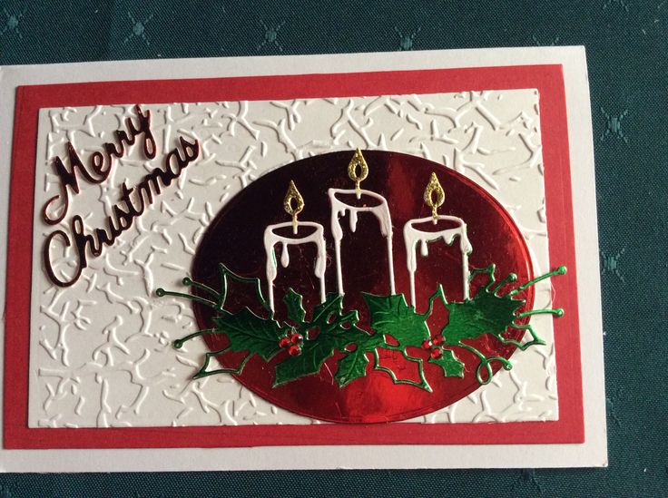Christmas card using Memory Box Glowing Candles die and Darice Crackles embossing folder.