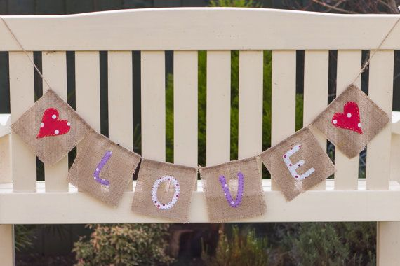 Love With Hearts Bunting  Vintage Handmade by MadeByMeAndMum