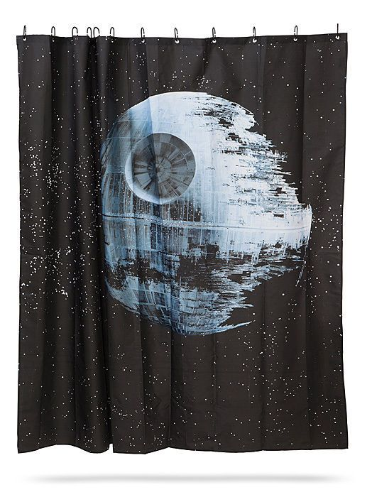STAR WARS Death Star Fabric Shower Curtain & 12 Hooks Set - Officially Licensed