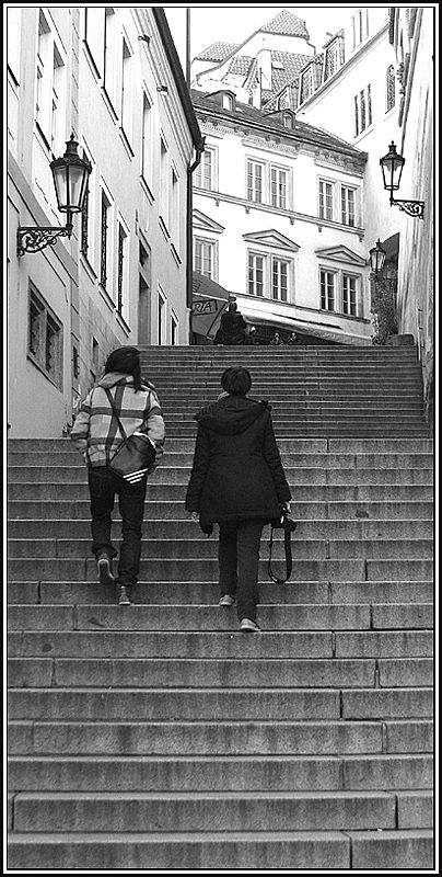 When i climb these stairs in Praha, you will be at the end waiting.