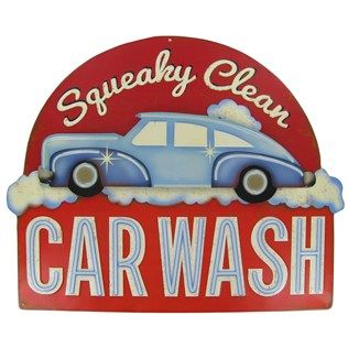 Open Road Brands Squeaky Clean Car Wash Tin on Tin Embossed Sign | Shop Hobby Lobby