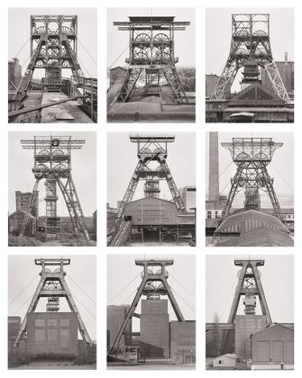 "Bernd and Hilla Becher. Winding Towers, Belgium, Germany. 1971–91. Gelatin silver prints, each 15 3/4 x 12 1/8"" (40 x 30.8 cm). Lent by Hilla Becher. Courtesy Sonnabend Gallery, New York. © Hilla Becher"