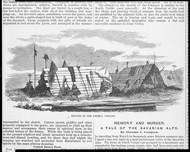 "1858 engraving [Umpqua Indians of Oregon Territory: ""graves of the Umpqua Indians""] Native Americans"