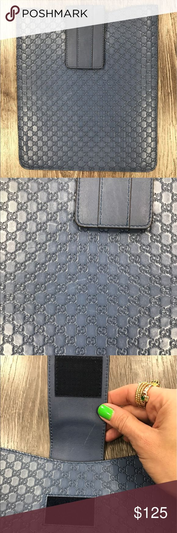"""Auth Gucci blue leather embossed I-Pad case Like new Gucci leather """"G"""" embossed I-Pad case in a beautiful blue color... great condition Gucci Accessories Phone Cases"""