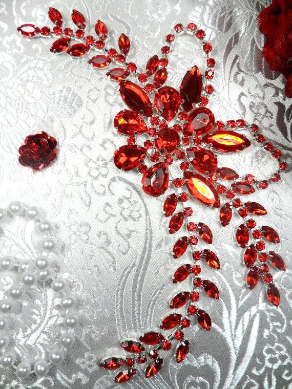 XR119 Red Crystal Rhinestone Applique Embellishment by gloryshouse, $13.99
