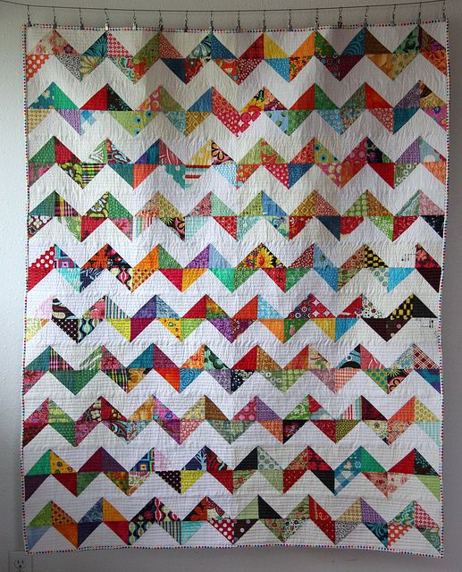 Chevron Quilt Pattern Using Jelly Roll : do. Good Stitches :: Colourful Zigzags by marycatharine, via Flickr things to sew Pinterest ...