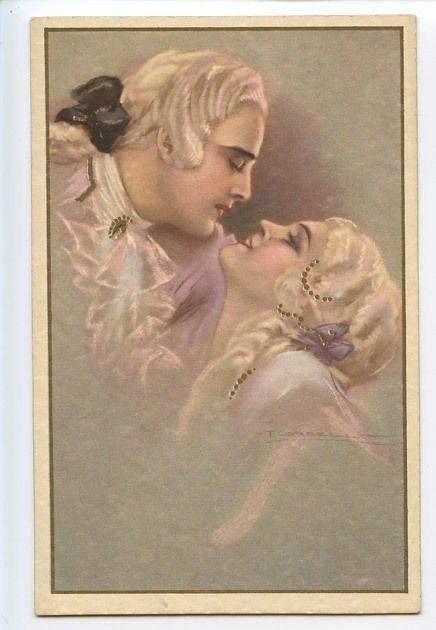 sg Corbella Art Deco Imperial love Couple Romance original old 1920s postcard