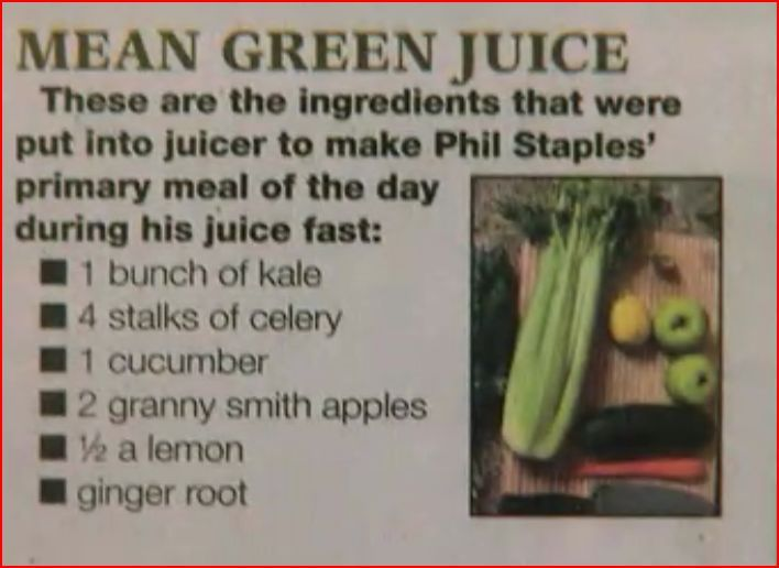 """Fat, sick and nearly dead"" mean juice recipe!"