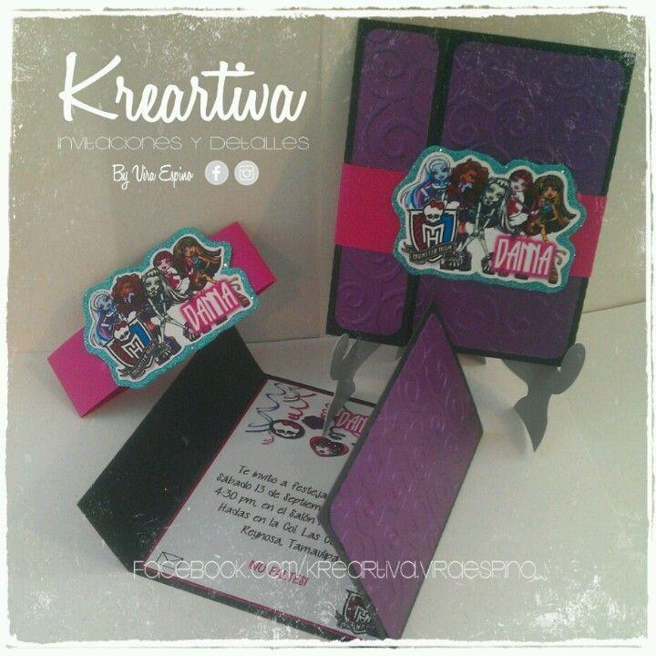 Invitaciones de Monster High cuadradas con textura, datos al interior. www.facebook.com/kreartiva.viraespino