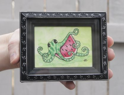 A whimsical octopus, about to devour a slice of watermelon. Watercolor and pen illustration on watercolor paper  by Melissa Rohr. Signed by artist.