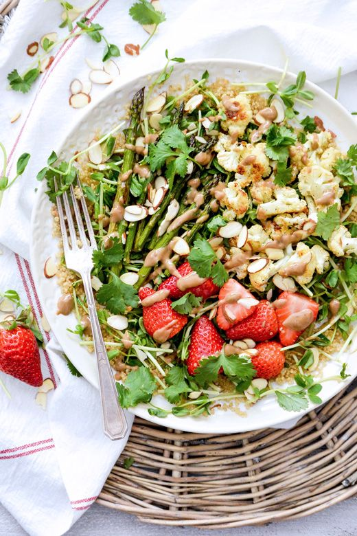Quinoa and Pea Shoot Salad with Cauliflower, Asparagus and Strawberries | www.floatingkitchen.net