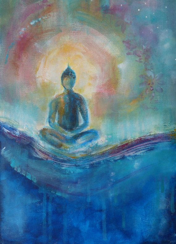 "Original Abstract Acrylic Painting on Canvas ""Self Realization"" 12 x 16 "" Blue Buddha Wave Ocean Lotus Spiritual Art Meditation"