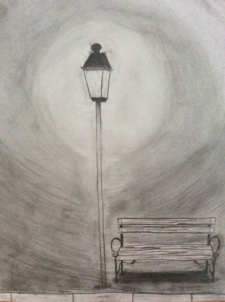 Park bench under street lamp in the night. Pencil drawing ...