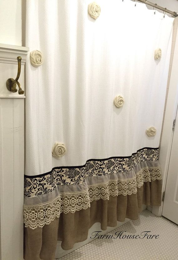 Burlap Ruffle Shower Curtain White Cotton with Handmade Rosettes and Pearls Rustic Shabby Chic Girls Bathroom Curtain
