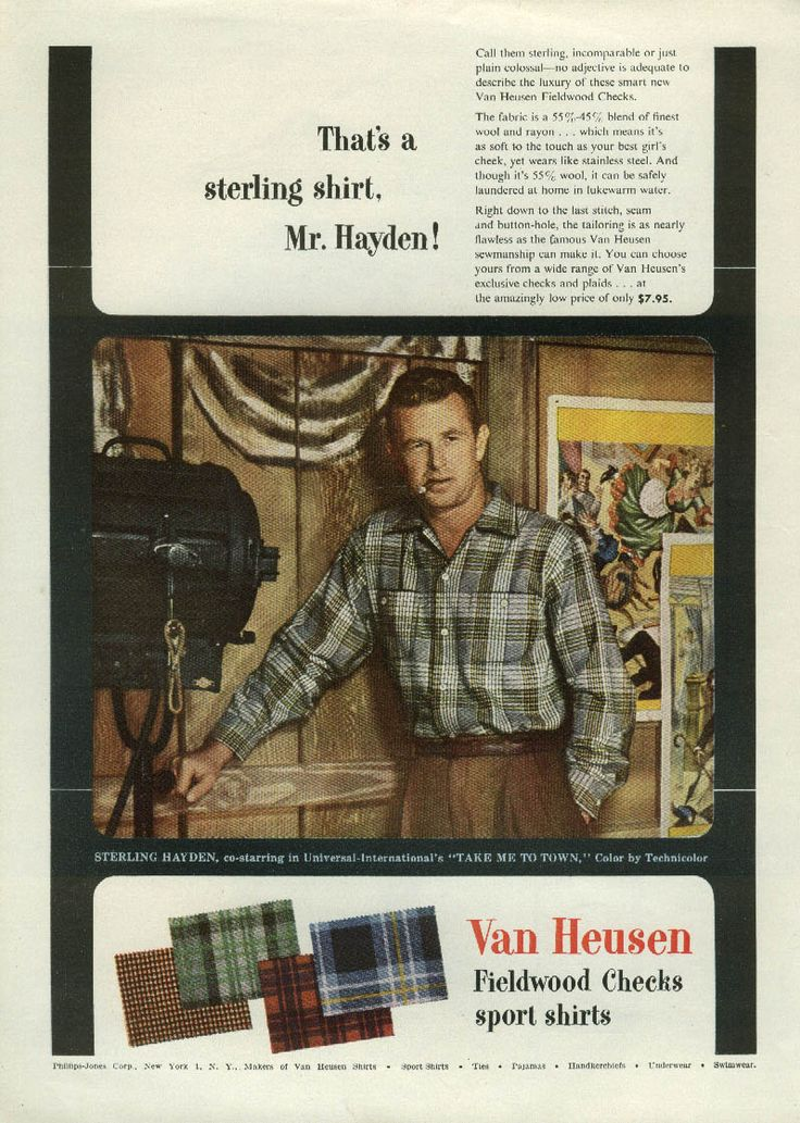 0 Sterling Hayden for Van Heusen Fieldwood Checks Sport Shirts ad 1953