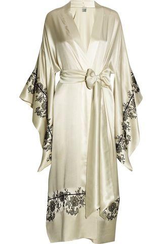 Carine Gilson Silk Lace-Appliqued Kimono Robe