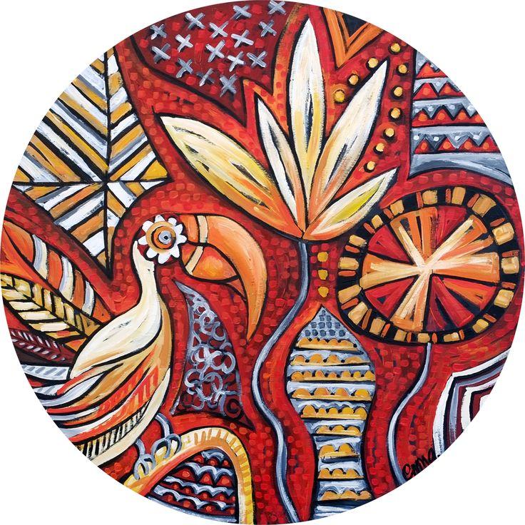 Tribal Tones - Emma Blyth - Australian Made Art - 2014 Acrylic on plywood - 80cm diameter