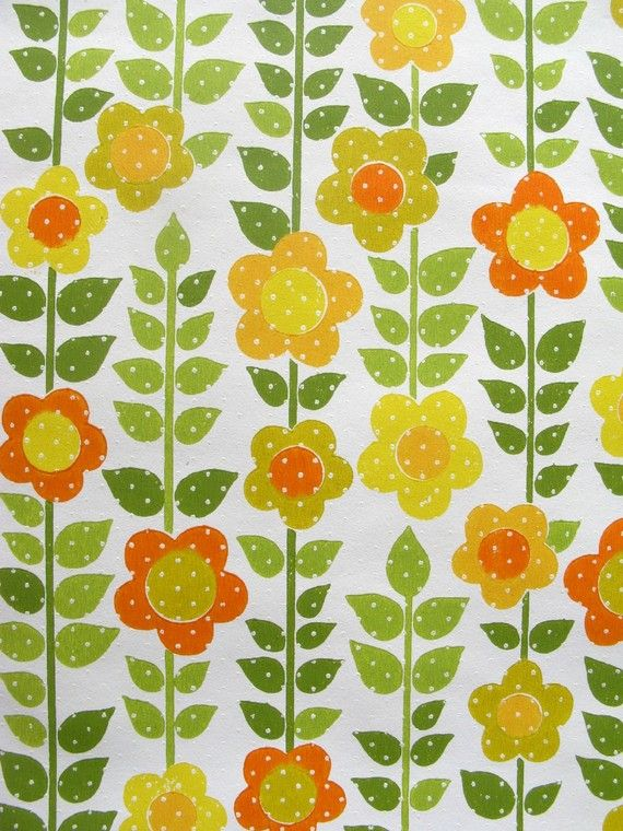 vintage wallpaper  sunny floral with dots  per full by thriftypyg, $14.00...I grew up with something like this!