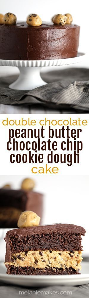 This Double Chocolate Peanut Butter Chocolate Chip Cookie Dough Cake is what peanut butter and chocolate lovers dream about.  Creamy and studded with mini chocolate chips, a thick layer of peanut butter cookie dough is sandwiched between two layers of chocolate cake.  The entire cake is then cloaked in a rich, whipped chocolate ganache frosting before being crowned with additional spheres of cookie dough.
