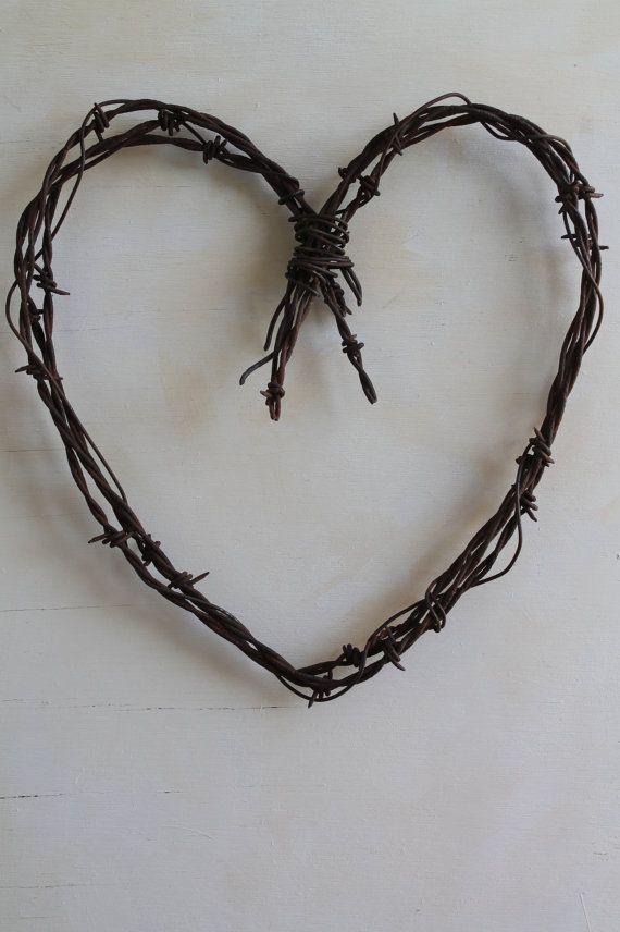 handmade rusty barbed wire heart wall decor by jackrabbitflats, $22.95
