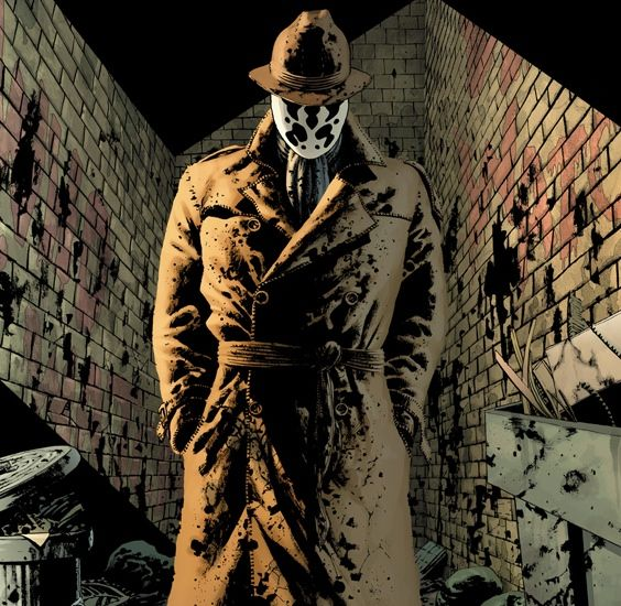 """Watchmen: Rorschach, a great if chilling character. Dog carcass in alley this morning, tire tread on burst stomach. This city is afraid of me. I have seen its true face. The streets are extended gutters and the gutters are full of blood and when the drains finally scab over, all the vermin will drown. The accumulated filth of all their sex and murder will foam up about their waists and all the whores and politicians will look up and shout """"Save us!""""... and I'll whisper """"no."""""""
