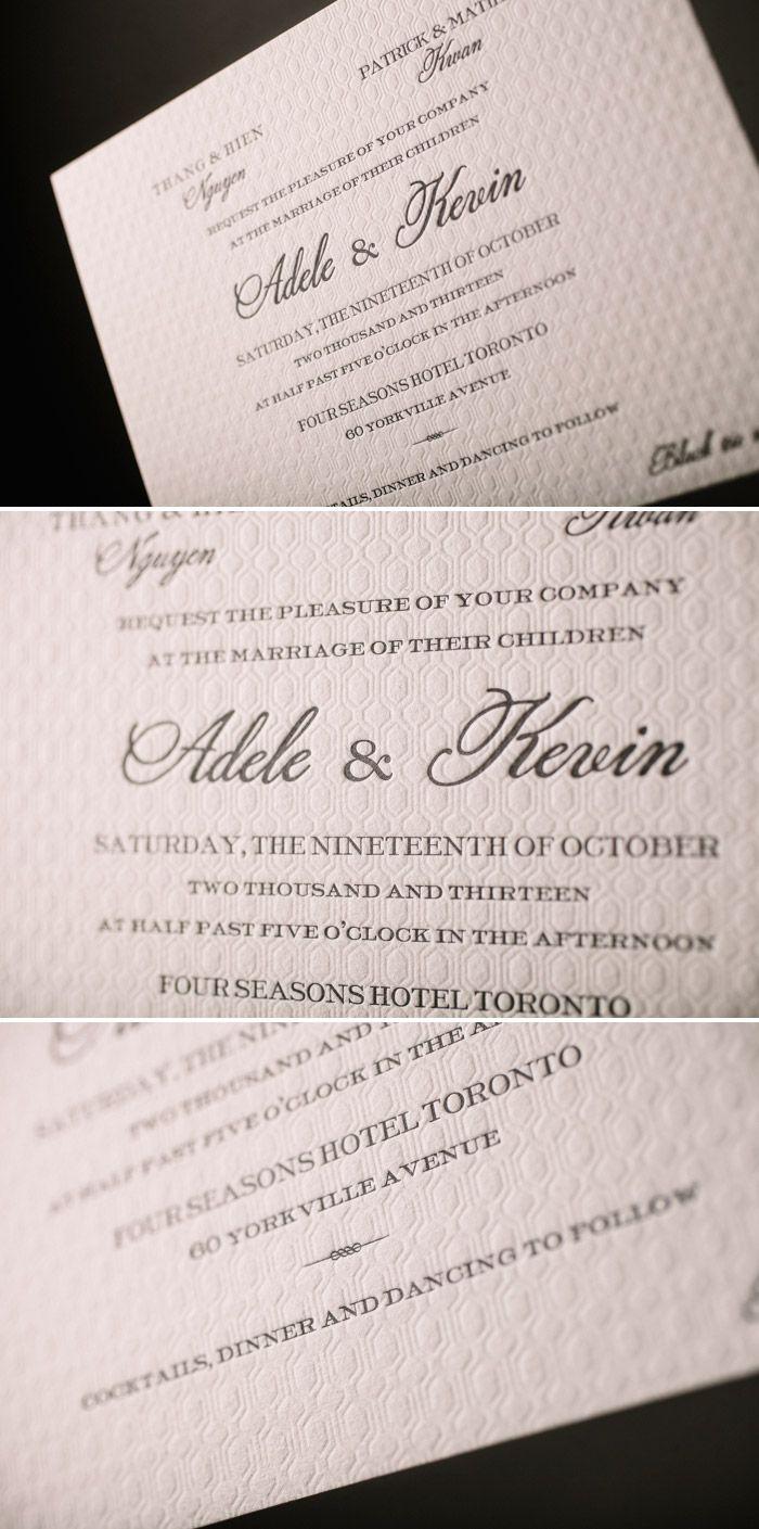 Modern and Minimal letterpress wedding invitations