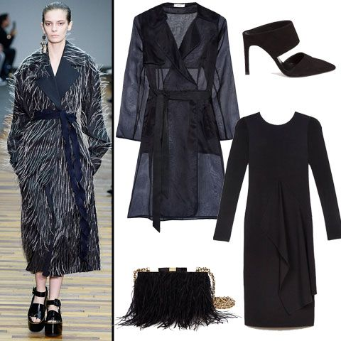 #HowToWearIt: Robe Coats - Milly silk organza trench, $525, net-a-porter.com; Protagonist draped dress, $740, theline.com; Whistles heels, $280, whistles.com; Kate Spade feathered bag, $318, katespade.com #InStyle
