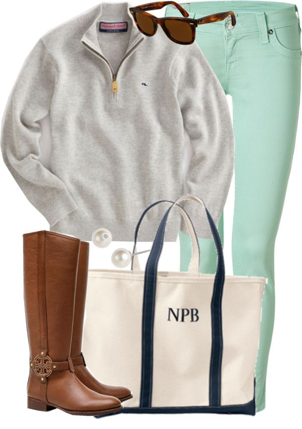 perfectly preppy. vineyard vines pullover, light turqoise pants, classic turtoise wayfarers, tb riding boots, and thick monogrammed canvas tote.