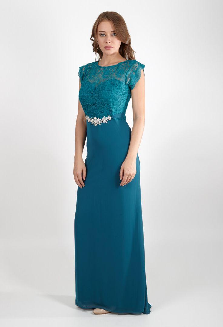Вечернее платье с коротким рукавом бирюзовое | Dress short sleeve turquoise