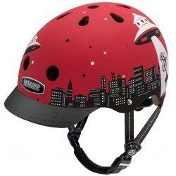Flot rød Nutcase hjelm med sjovt design. Dette er en hjelm der får en til at trække på smilebåndet :-) #SjovCykelHjelm #HjelmMedMotiv #RødCykelhjelm #Hjelm #Cykel #Cykler #SikkerhedITrafikken