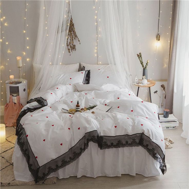 2017 Luxury white Luxury Heart embroidery Bedding set  4pcs 100% cotton Bed set King Queen Size lace Duvet cover Bed skirt set #Affiliate