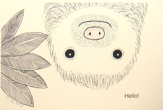 Sloth Ink Drawing Print Cute Funny Sloth Illustration Black & White Ivory 4x6 Home Wall Decor Rustic Tropical Jungle Animal Nursery Art MiKa...