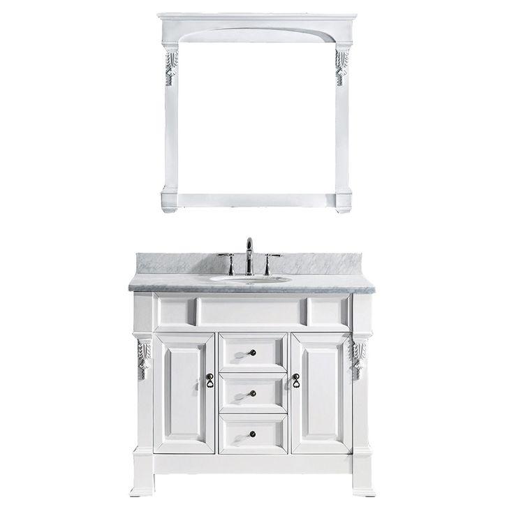 """Virtu USA Huntshire 40"""" Single Round Sink White Top Vanity in White with Mirror"""