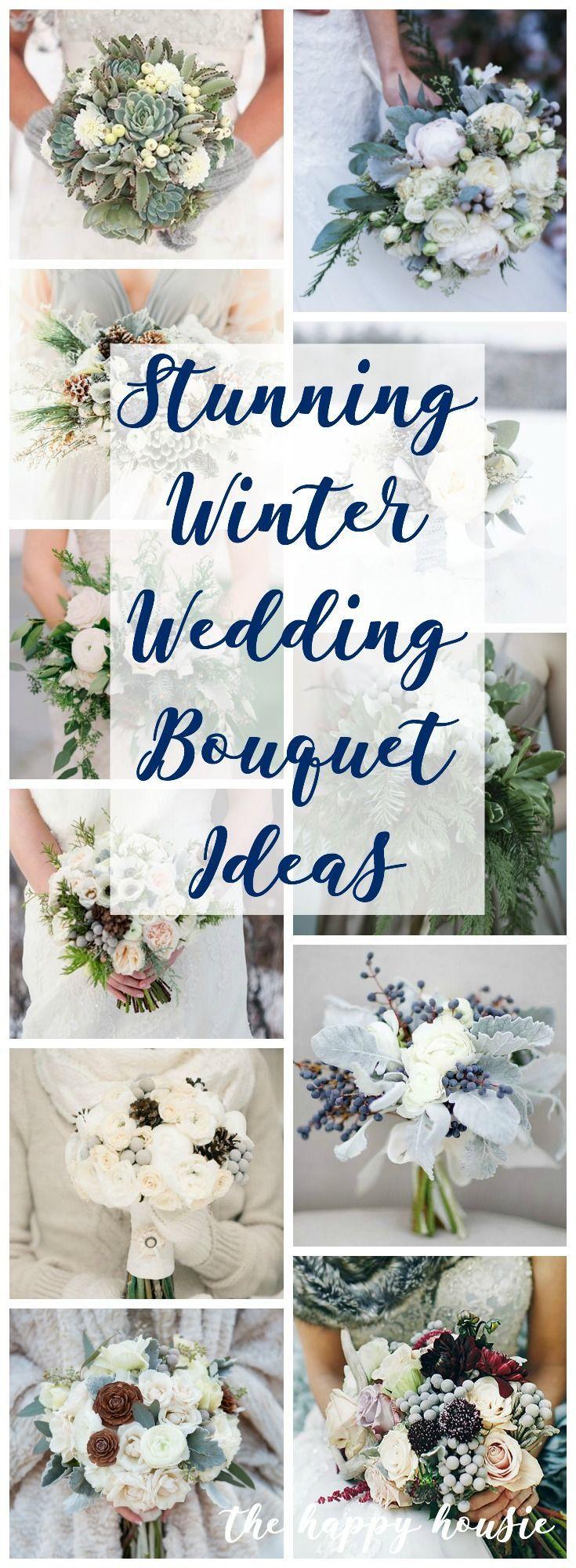 Stunning Winter Wedding Bouquet Ideas | The Happy Housie #winterbouquet #winterwedding #bridalbouquets