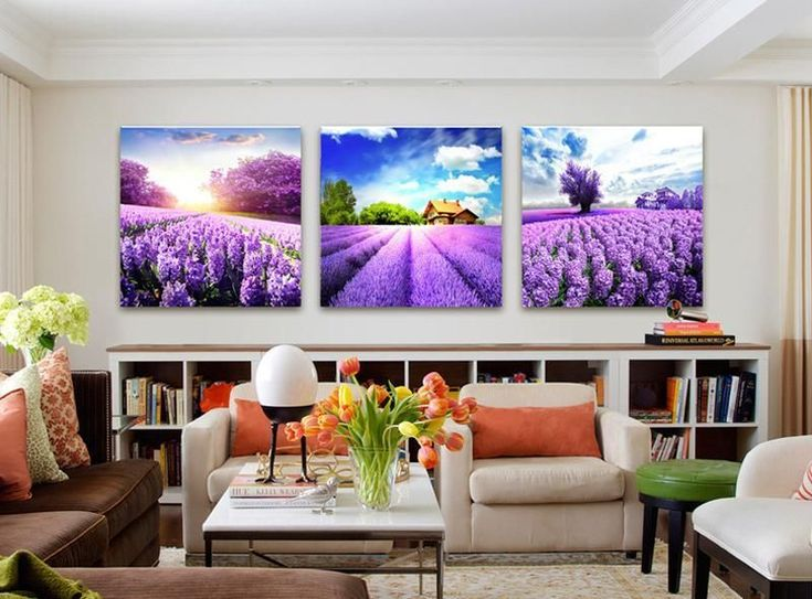 Beautiful Purple Flowers Lavender Living Room Wall Art Decor Canvas Prints #DIYHomeDecorCanvas