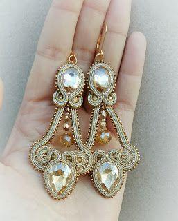 biżuteria soutache, haft koralikowy, torby z filcu: Złote