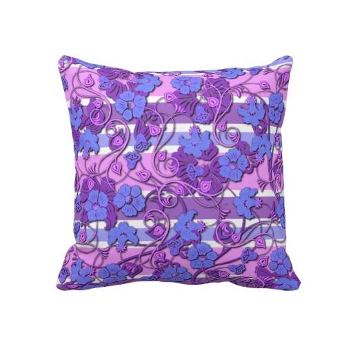 Unique, trendy and pretty pillow. Beautiful pastel pink, violet purple, and lavender blue vintage flower vines, on striped background pattern. Romantic and elegant floral design created for the antique, romance, retro, nouveau and art deco style lover. Cute and fun girly girl, kids or mom's birthday present, Mother's day, or Christmas gift. Original, cool and chic art for the master or children's bedroom, nursery, living or family room, dorm, cabin, beach house, cottage or vacation home.