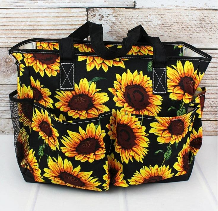 Sunflower Print Large Organizer Tote in 2020 Tote