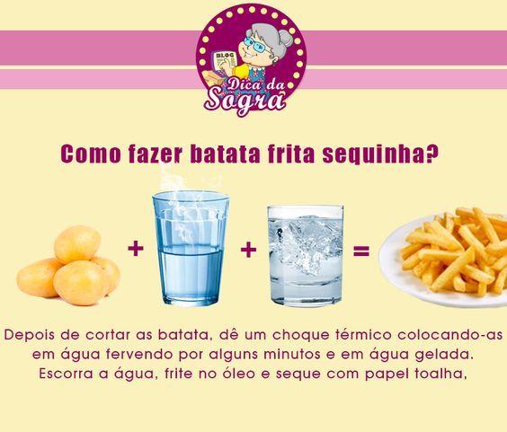 COMO FAZER BATATA FRITA SEQUINHA? Veja essa e outras dicas em nosso blog: http://dicasdacasa.com/dicas-de-cozinha-da-sogra/:
