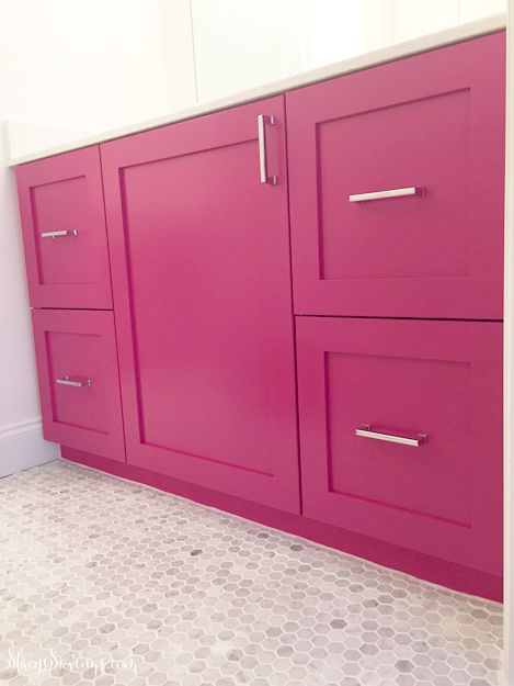 Painted Cabinets - Hot Pink Vanity. Girls Bathroom Cabinets.  Ikea hack. Ikea Kitchen Cabinets in Bathroom.  DIY paint sprayer. Benjamin Moore Gypsy Pink.