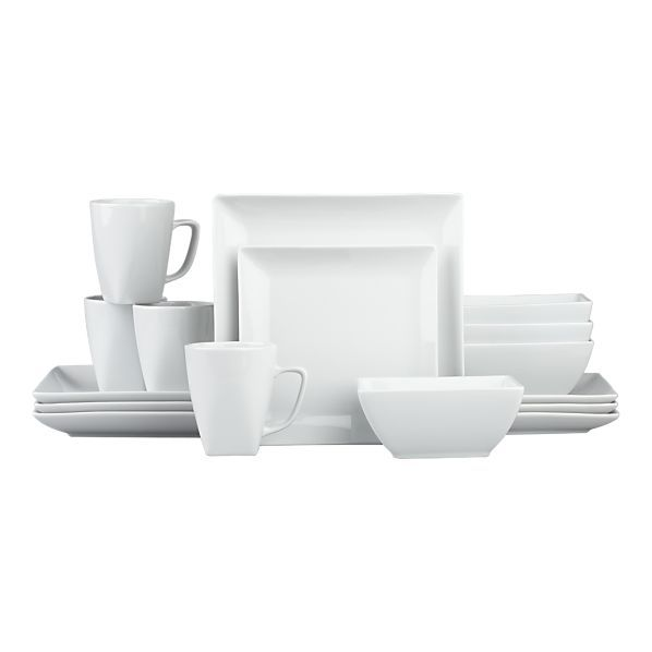 crate and barrel court 16 pc dinnerware set - White Dinnerware Sets