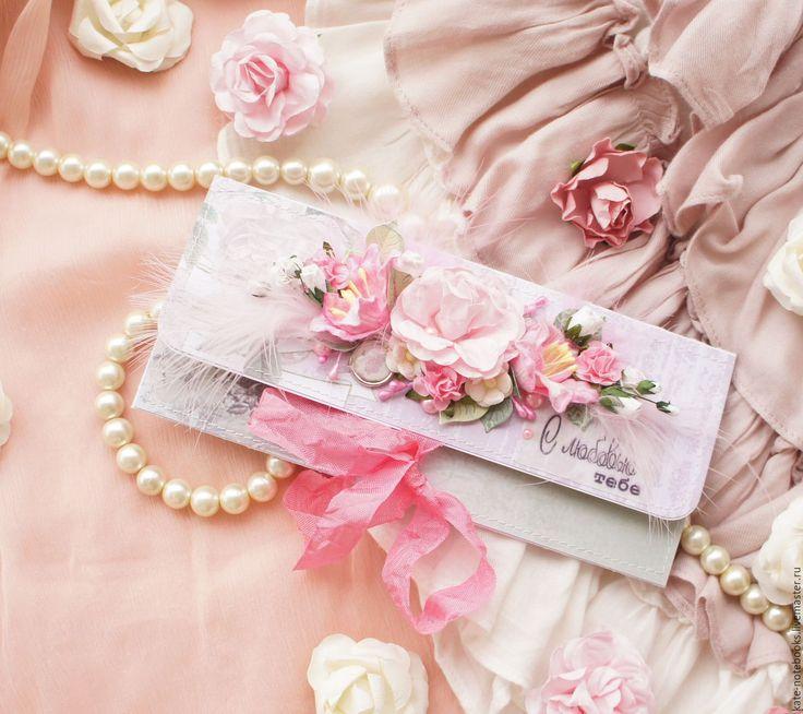 Купить Конверт для денег в розово-зеленых тонах - открытка, Открытка ручной работы