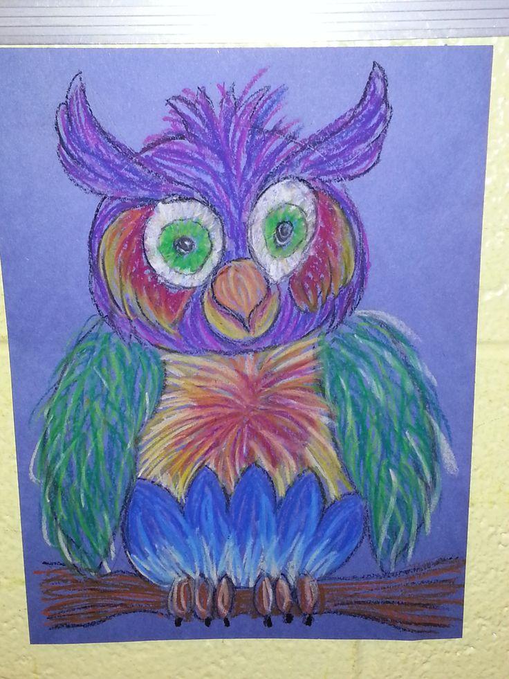 Owl Oil Pastels Elementary Art Ideas Pinterest