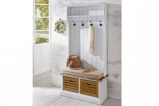 Garderobe Burgund weiß massiv Holz Moebel Antike Wandgarderobe Flur garderobe